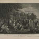 A black and white image of William Penn's legendary treaty with the Lenape at Shackamaxon