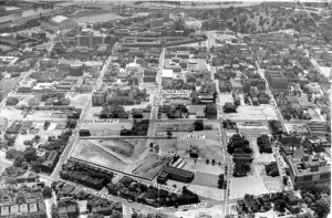 A black and white aerial photograph of the University City Science Center under construction
