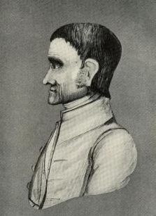 A black and white drawing of John Woolman