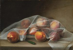 A still-life painting of apparently soft, fuzzy peaches on a tan table beneath a thin, silk, sheer piece of fabric. A black hornet lays atop the center peach and a shiny, metal knife with a green plastic handle sits angled beside it. The white, sheer fabric contrasts starkly from a dark backdrop.