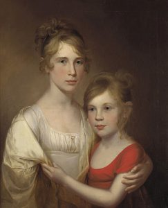 A double portrait of Anna and Margaretta Peale by James Peale. Anna (left) wears a white dress with a yellow-cream-colored shawl draped over her shoulders. Her younger sister Margaretta (right, about 10 years old) grabs the shawl, reaching across. She wears a red dress. Both are pale with rosy cheeks, blue eyes, and blondish-brown hair, not unlike their father. They are set on a background that is similar in tone to their hair, getting darker toward the right and top areas of the painting.