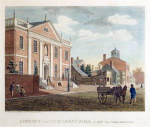 A color engraving of Library and Surgeons Halls on Fifth Street
