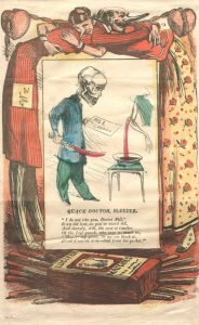 A color political cartoon of a skeleton in doctor's uniform holding a knife and a medical bill in front of a patient's bleeding arm