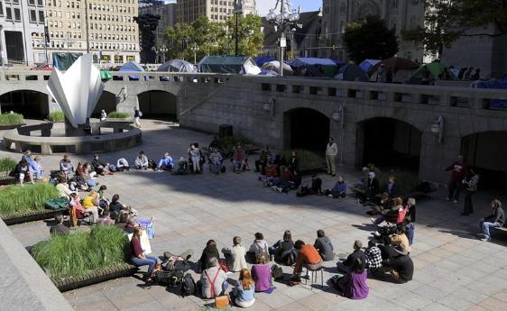 Quaker gathering during Occupy Wall Street encampment, City Hall, Philadelphia, October 11, 2011.