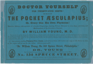 a text-only advertisement for The Pocket Æsculapius, a book of home remedies, with the tagline