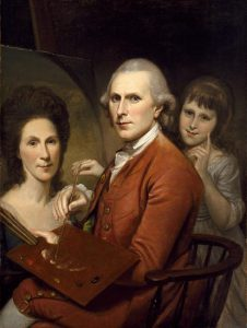 A painting of Charles Willson Peale seated behind an easel, working on a painting of his wife, Rachel Brewer Peale. His daughter stands behind him with her hand on the end of his paintbrush, as the tip of his brush, in hand, touches the paint palette in his other hand, resting on his arm.