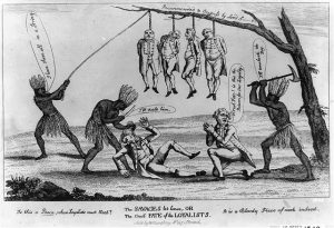 A cartoon showing three Natives Americans, representing America murdering six Loyalists.