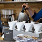 Photograph taken of a pour over coffee being brewed at Ultimo.