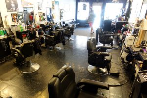 color photo of the inside of South Street Barbers in Philadelphia. June 2016.
