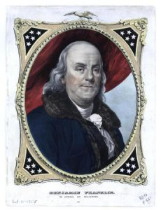 A color painting of Benjamin Franklin