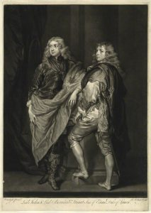 A lithograph (black and white) featuring two lords, the one on the left with a large sash, or cloak, draped across his body and leaning to the right, toward the second figure, who stands facing left (and slightly away) with his left foot placed on a small step. Both lords have curly hair and wear fine dress.