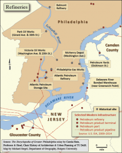color map showing locations of refineries and historical refinery sites in the Philadelphia area.