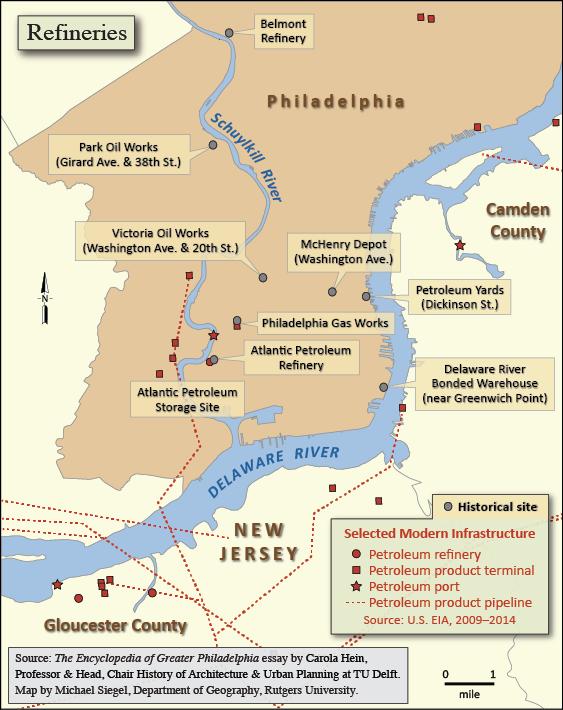 Refineries Oil Encyclopedia Of Greater Philadelphia - Map-of-us-oil-refineries