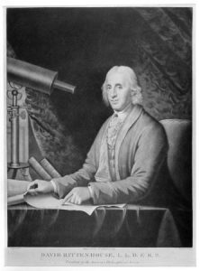 A black and white illustration of David Rittenhouse seated at a telescope