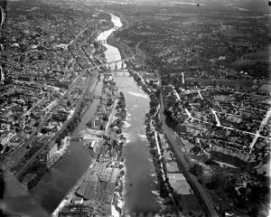 Aerial view of the Schuylkill River looking southeast from Manayunk