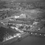 Aerial view of the Alan Wood Iron and Steel Company in Conshohocken, Pennsylvania.