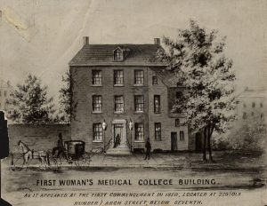 Black and gray illustration depicting the facade of a three story brick building with one figure in the foreground, one figure entering the building, and a horse-drawn carriage passing by.