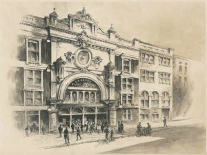 "Illustration of the facade of a large, four story building with people on the sidewalk out front and entering the building. The words ""B.F. Keith's Bijou Theater"" are written above the large entryway."