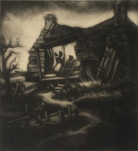 A dark, rich, carborundum print of Thrash's childhood home: a cabin with a slanted roof, a twisting dirt path approaching it, and three figures on the porch. One stands in a dress, holding a child (likely intended to be Thrash) and another sits in a rocking chair. A light shroud surrounds the house.