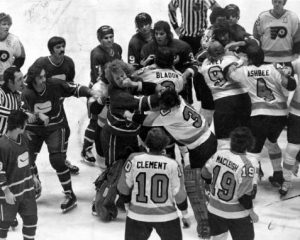 Flyers players engage in a brawl on the ice