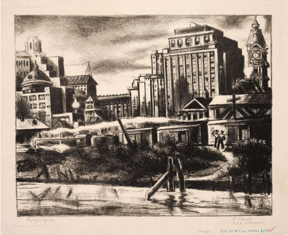 A print that captures two working men standing at the freight yard, the clock tower of city hall can be seen at the right edge. A dirt path and shrubs are in the foreground, with the city in the background.