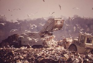 A dumptruck offloads garbage at the Hackensack Meadowlands Landfill