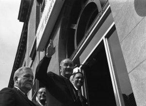 President John and Reverend Leon Sullivan entering the Opportunities Industrialization Center in 1967.