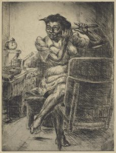 A print of an etching featuring light and dark hatching and cross-hatching. A woman sits on a stool or chair with one leg crossed over the other.  She uses a curling iron to curl her black hair. A chair is in the foreground, facing her, and partially obscuring her, and a table is at the back left.  Several objects sit atop it, including a small clock.