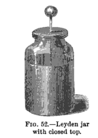 a black and white engraving of a Leyden jar with the top closed