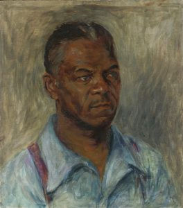 A color, oil self-portrait of the artist in a light blue collared shirt with the top button unbuttoned, and red suspenders.   The background is a dull green, composed of wavy, seaweed-like brushstrokes, not unlike impressionist painter Van Gogh's similarly-styled self-portrait.  He stares sternly off to the right (at a 45 degree angle). His hair is black, with some grey mixed in.