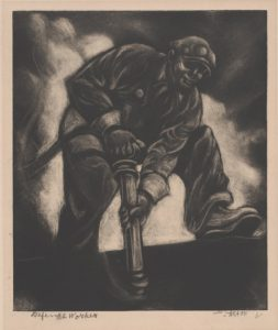 A dark, velvety, charcoal-like carborundum print of a black riveter, perspective from below, garnering a feeling of grandeur and greatness, despite the worker's race and hard-labor job.  A big white cloud is behind him, creating a halo-like shroud around him.