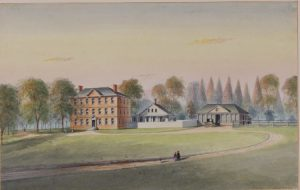 A color illustration of Bush Hill, a red brick Georgian mansion with outbuildings seated on a large plot of land