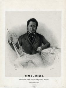 Black and gray illustration of a man seated with a brass horn in his right hand and his left arm resting on a table with sheet music and a quill pen.