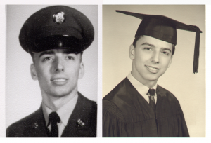 Side-by-side photographs of young Tioga resident Frank Marshall. On the left, he wears a military cap and dress, while on the right he is pictured in his high school graduation cap and dress.