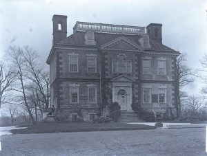 a black and white photograph of the Georgian mansion 'Mount Pleasant' in Fairmount Park
