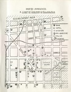 Hand-drawn map depicting a section of the city from about a half block below Arch Street to a half block above Spring Garden and from 4th Street on the east to about a half block west of 11th. The map also marks the locations of hotels, bars, theaters, missions, and liquor stores as well as two large areas slated for redevelopment to the north and east.