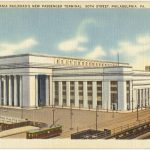 Color illustration of the 30th Street railroad station with a trolley in the foreground.