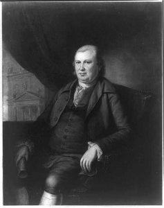 A black and white illustration of Robert Morris, seated, wearing a suit and vest.