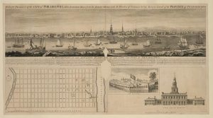 An eighteenth century engraving featuring a view of Philadelphia from the New Jersey side of the Delaware River. Also featured in the bottom right of the engraving is an eighteenth century street map of Philadelphia. To the bottom right are engravings of prominent buildings in Philadelphia including an engraving of the Pennsylvania State House (after the American Revolution it became known by a new name, Independence Hall).