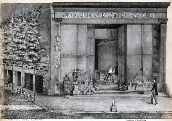 A black and white illustration of a shop with unusually tall front windows. In front of the shop is a mannequin of a Chinese laborer and boxes labeled