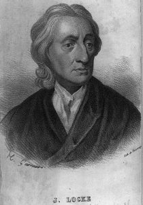 A black and white engraving of John Locke.