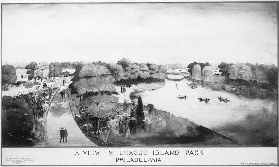 Black and white illustration of a park along a body of water with trees and wide walkways.