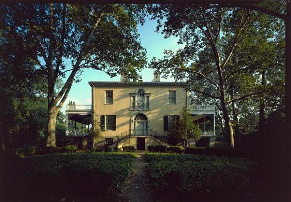 Color photograph of the front facade of Lemon Hill, a historic home in Fairmount Park.