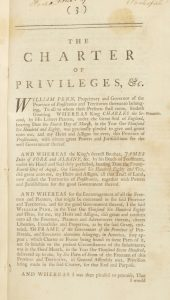 Image of a reprinting of the Pennsylvania Charter of Privileges.