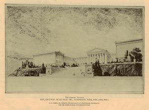 Gray wash sketch of the front facade of the Philadelphia Art Museum.