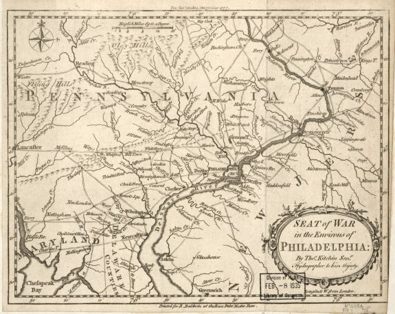 A map depicting the Philadelphia region during the American Revolutionary War.