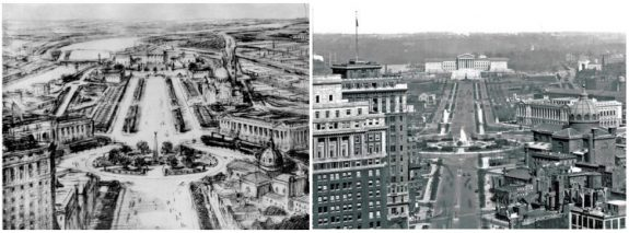 Side by side black and gray sketch and black and white photograph of parkway with buildings.
