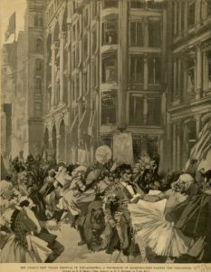 1892 illustration shows an artist's rendering of the raucous holiday celebrations that predated the first city-sponsored Mummers Parade in 1901.