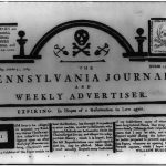 The front page of the Pennsylvania Journal and Weekly Advertiser with two prominent skull and crossbones printed on it, one where the normal header would be and one in the upper left corner. Article text announces that the newspaper is folding due to the cost of the Stamp Act.