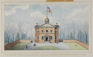 A color illustration of Carpenter's Hall, a two-story red brick Georgian-style meeting hall topped by a white cupola and a large American flag. It is surrounded by a wall and the area around it is still forested.